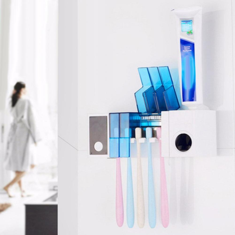 Antibacteria 2 in 1 UV Light Ultraviolet Toothbrush Automatic Toothpaste Dispenser Sterilizer Toothbrush Holder Cleaner New(China)