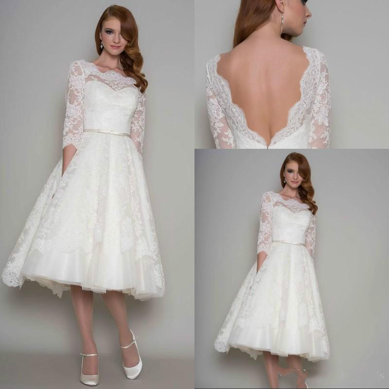 Short Ivory Wedding Dresses Open Back 3 4 Sleeves Tea Length