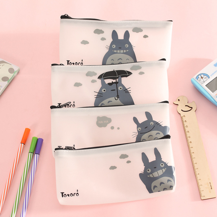 Newest Catoon Totoro  Pu Leather Waterproof Pencil Case Stationery Jelly glue Storage Bag School Office Supply High-capacity