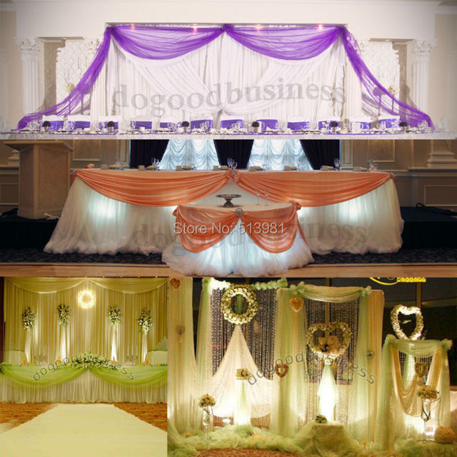 10m 1 35m Organza Fabric Wedding Decoration Table Top Curtain Party Chair Sash Bow