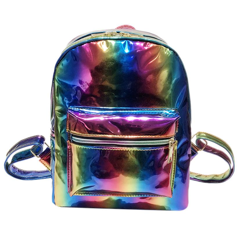 Backpack Women Leather Rainbow Laser Leather School Bag Backpack Satchel Women Trave Shoulder Bag 5.16