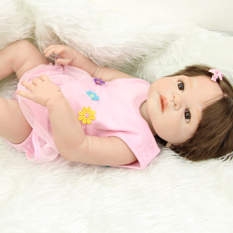 23 Inch Realistic Full Body Silicone Vinyl Newborn Princess Baby Girl Collectible Reborn Dolls Kids Birthday Xmas Gift