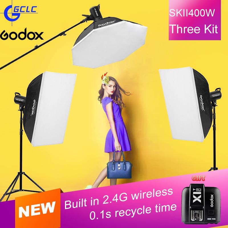 NEW SK400II 110V 220V 3x SK400W Studio standard kits SK Series Power 5600K Max 400WS GN65 Flash Lamp Strobe Light sk ii sk ii color