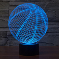 7 color Holiday Atmosphere Decorative Kids Basketball Style 3D Ilusion LED Night Light