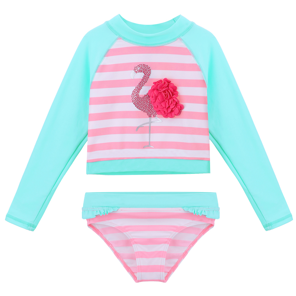 BAOHULU Cartoon UPF50+ Swimsuit Kids Floral Long Sleeve Girls Swimwear Two Piece Swimming Suits Pink Bathing Suit For Children