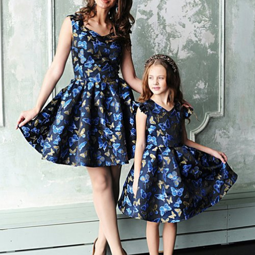 mom and daughter dress 2019 yellow floral printed mini