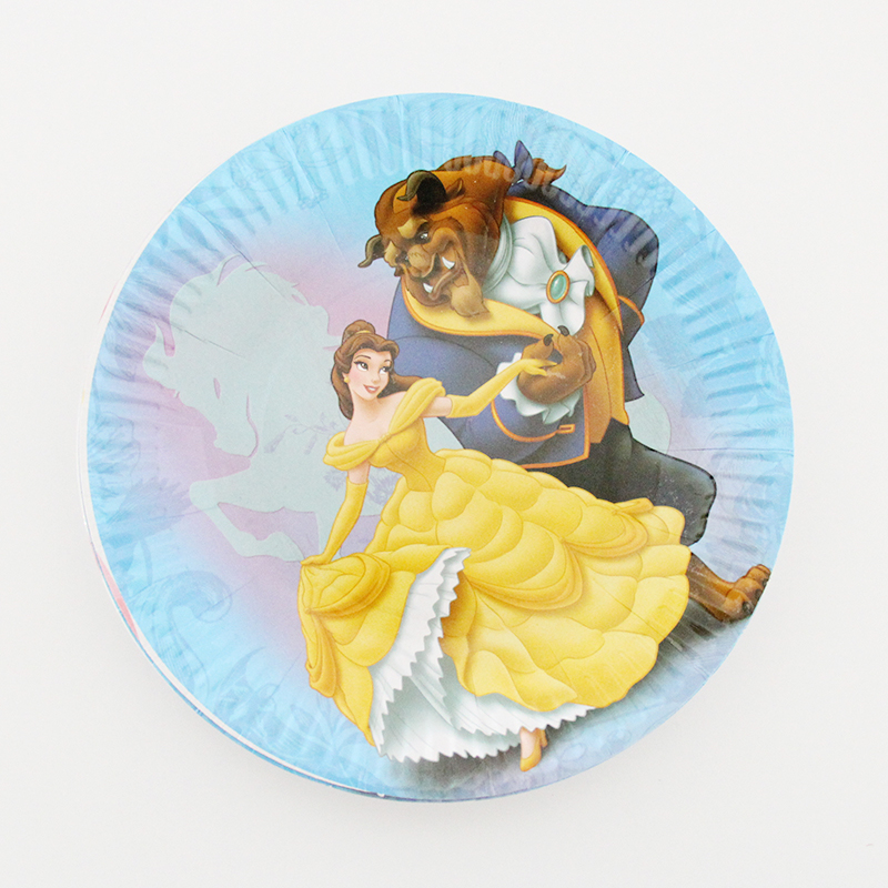 Beauty And The Beast Cartoon Theme Paper Plate Disposable Plate Wedding Kids Birthday Party Decoration Boy Girl Party Supplies