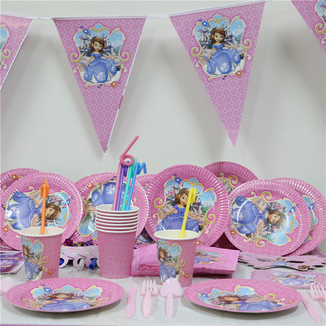61pcs/lot cartoon sofia princess paper plate cup napkin banner kids birthday party decoration festival & 61pcs/lot cartoon sofia princess paper plate cup napkin banner kids ...
