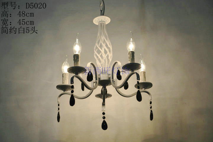 5 heads White Color Wrought Iron Crystal pendant Chandelier E14 base Lamp for home decoration Lighting