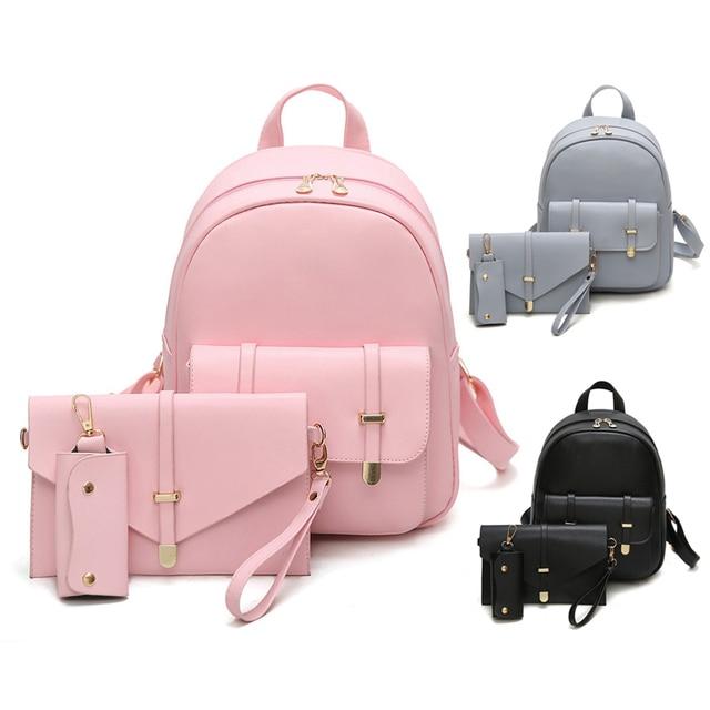 f83aa9895b 3pcs Set Small Women Backpack Set Female 2018 School Bags For Teenage Girls  PU Leather