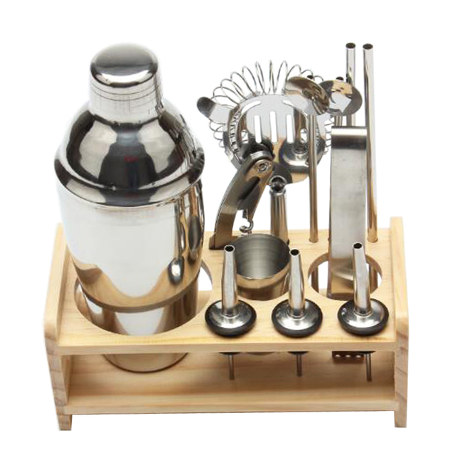 12pcs Stainless Steel Cocktail Shaker Set Include Drinks Strainer Bottle Opener Maker Mixer Bar Wine Tools Accessories