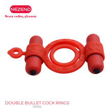 NEZEND multi-function silicone penis ring delay ejaculation stretch trainer man sex toy double bullet vibration adult games