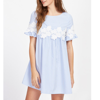Floral Lace Applique Blue Striped Babydoll Mini Dress Women 2017 Summer Short Sleeve Dresses Womans Vintage