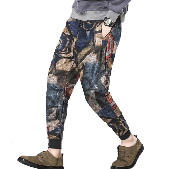 2017 Hot Fashion Men Pants Good Quality Printing Casual Slim Fit Trousers Men (Asian Size)