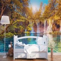 Custom Photo Murals 3D Landscape Wallpapers Nature Painting Walls Papers With Tree River Pictures For Living
