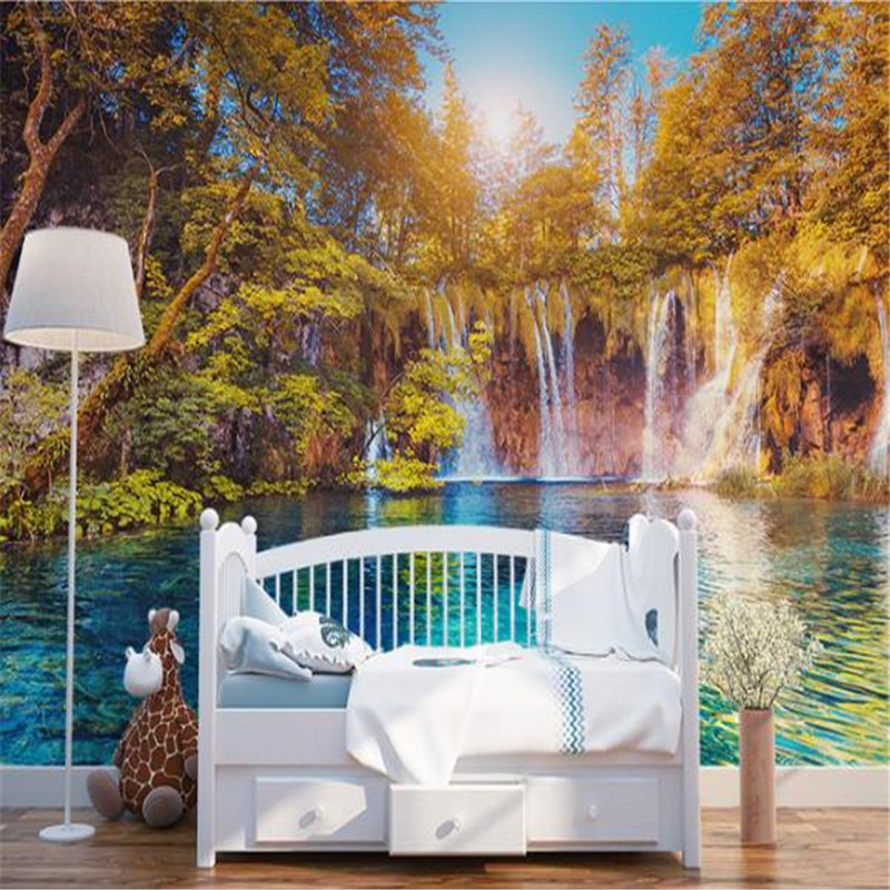 Custom Photo Murals 3D Landscape Wallpapers Nature Painting Walls Papers with Tree River Pictures for Living Room TV Home Decor custom photo size wallpapers 3d murals for living room tv home decor walls papers nature landscape painting non woven wallpapers