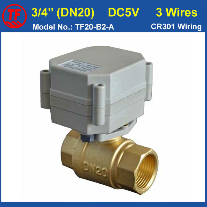 Metal Gear High Quality DN20 Electric Motorized Valve DC5V 3 Wires Brass 3/4'' Full Port  For HVAC Water Heating tf20 s2 c high quality electric shut off valve dc12v 2 wire 3 4 full bore stainless steel 304 electric water valve metal gear