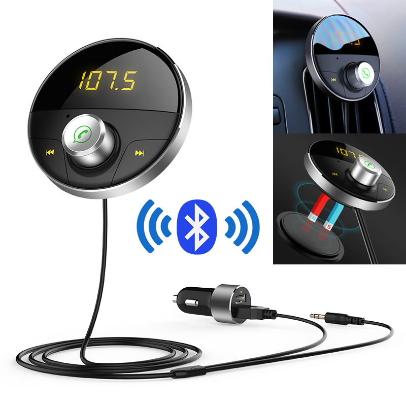 Bluetooth FM Transmitter Audio Car Mp3 Player Wireless In-Car FM Modulator Handsfree Bluetooth Car Kit with LCD Display