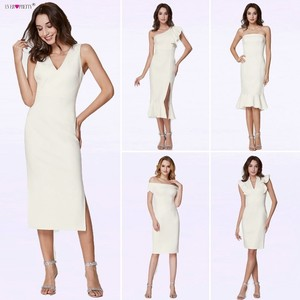 Image 2 - Ever Pretty Fashion White Cocktail Dresses A Line V Neck Backless vestidos coctel mujer 2018 Split Tea Length Casual Party Gown