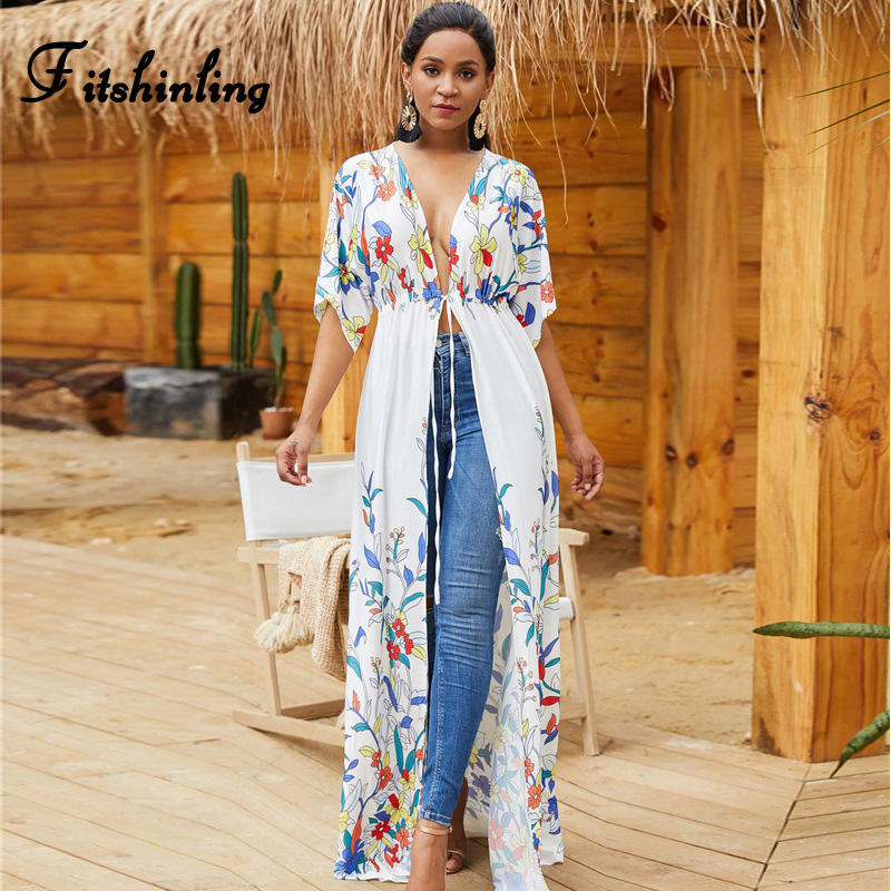 Fitshinling Print Floral Beach Cover-up Swimwear Holiday Bohemian Slim Sexy White Long Kimono Cardigan Summer Bikini Outer Cover