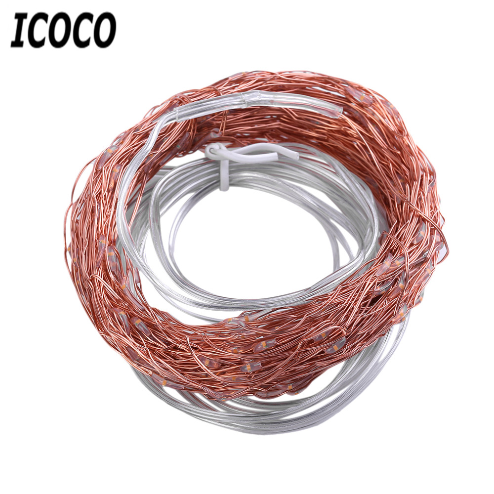 ICOCO Solar Powered Outdoor Warm White 6M 120LED Copper Wire Outdoor String Fairy Light with 2 Lighting Modes Environmental