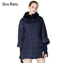 Una Рета Новый осень-зима куртка женщин Средний Длина теплые модные женские Парка на пуху Мех воротник женский Куртка Свободное пальто