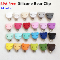 Chenkai 10pcs BPA Free Silicone Bear Clip Baby Dummy Teether Pacifier Chain Clips DIY Craft Baby Soother Nursing Toy Accessories