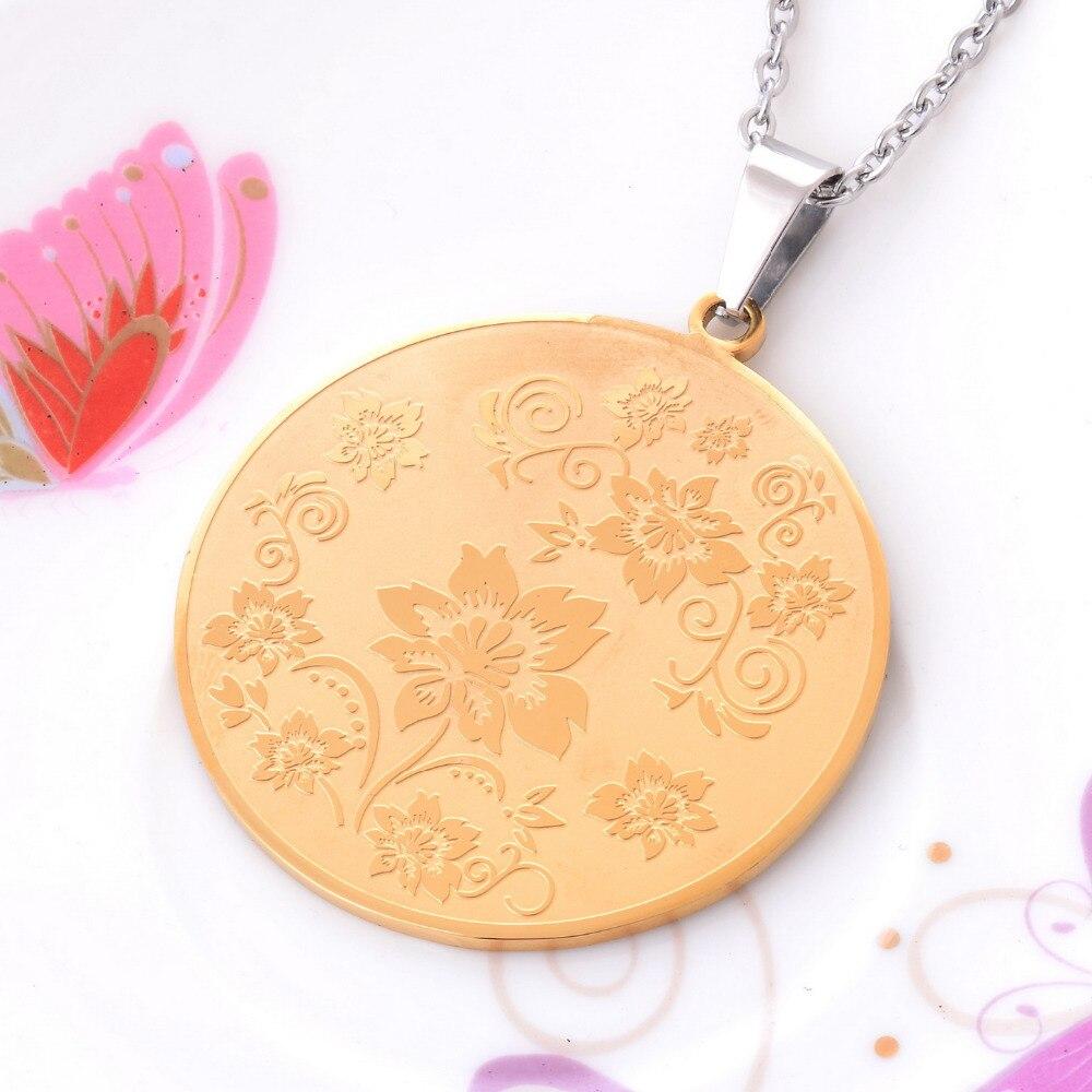 Мода позолота 316L Нержавеющаясталь кулон круглый кулон Цепи золото Цвет Ожерелья для мужчин для Для женщин Для мужчин подарок ювелирных из...