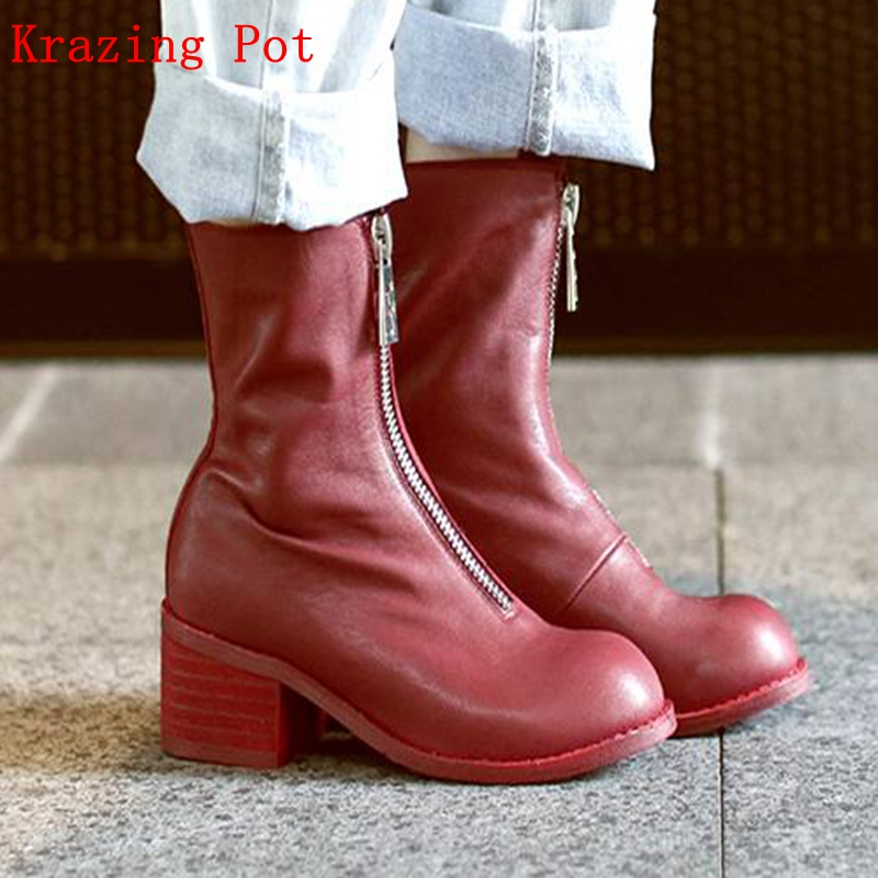 Krazing Pot genuine leather round toe streetwear square thick heels European big size front zipper decoration ankle boots L20 krazing pot cow leather low heels gladiator round toe hollywood european chelsea boots plus size streetwear nude boots l83