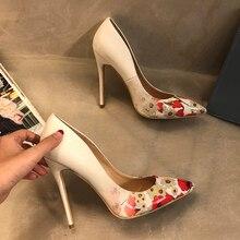 цена на Free shipping fashion women Pumps lady white Flower printed Pointy toe high heels shoes 12cm 10cm 8cm big size 43 party heels