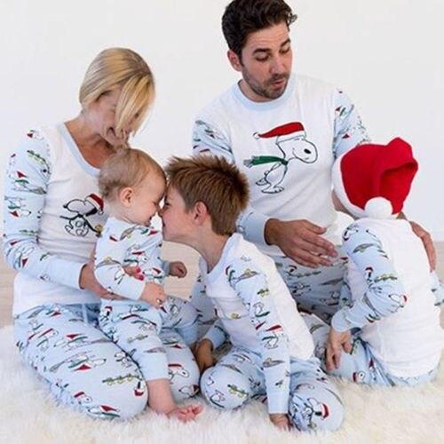 Family Matching Christmas Pajamas  Sets  New Brand Long Sleeve Cartoon Print Casual Xmas Sleepwear Nightwear