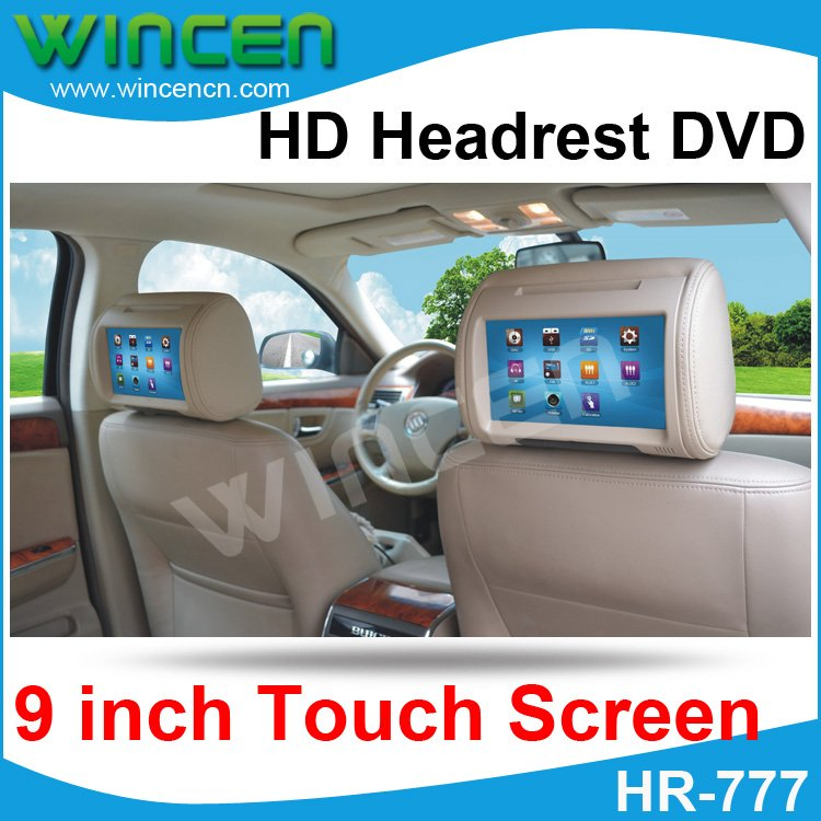 2012!!! 9 inch Digital Touch Screen Car Headrest DVD Player + 32Bit Game+IR+USB+SD+FM Free Dual Channel IR Wirelss Headphone ...