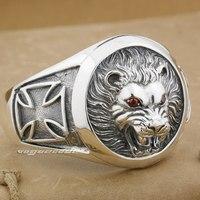Огромный тяжелый Lion Knight King Cross 925 серебро мужские браслет 9B005