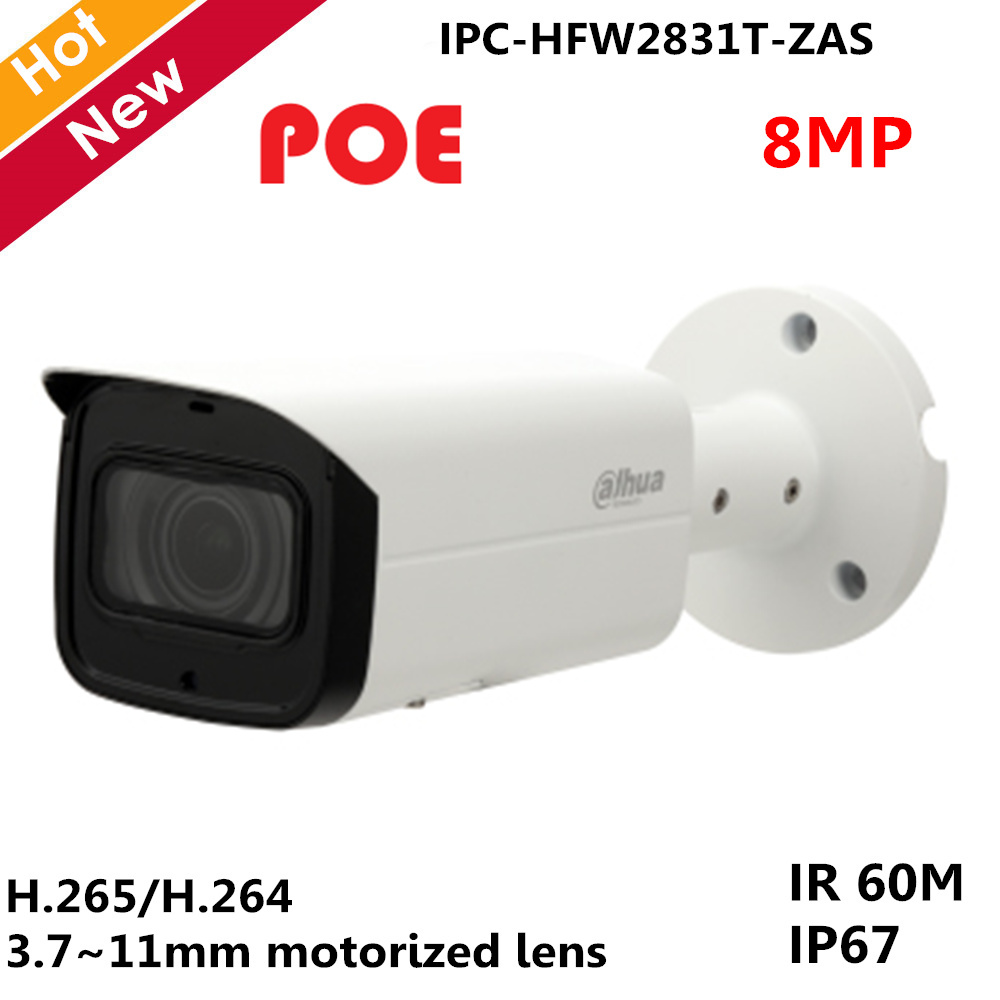 Original Dahua English With logo IP Camera IPC-HFW2831T-ZAS 8mp H.265 3.7~11mm Variable lens POE and SD card slot 128G Video camOriginal Dahua English With logo IP Camera IPC-HFW2831T-ZAS 8mp H.265 3.7~11mm Variable lens POE and SD card slot 128G Video cam