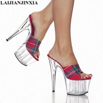 LAIJIANJINXIA 2018 15cm/ultra high heels for women's shoes NightClub princess 15 cm high heels slipper Dance Shoes K-023
