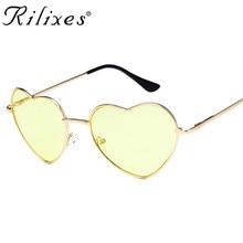 Amor da Forma Do Coração Óculos De Sol Das Mulheres Óculos Sem Aro Moldura  Lente Tonalidade Clara Coloridas Óculos de Sol Tons d. 4b93b281fe