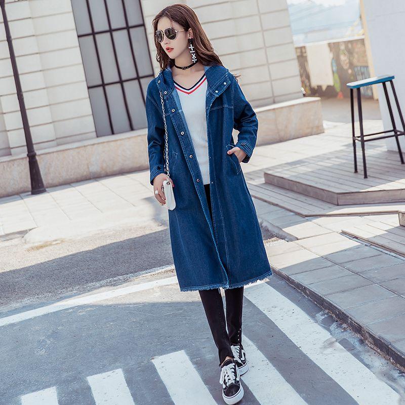 a5f3802202a 2018 Spring Boyfriend style Denim Trench Coat Women Streetwear hooded tops  Loose Jeans Windbreaker Outwear 031402-in Trench from Women's Clothing on  ...
