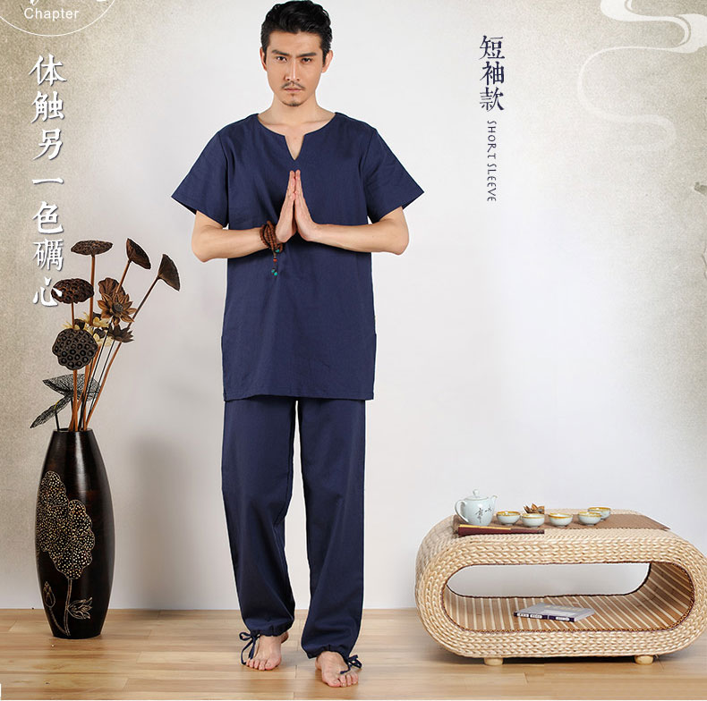 Summer Men's Cotton Yoga Clothing Suit Yoga Meditation Suits Jushi Meditation Tea Suits