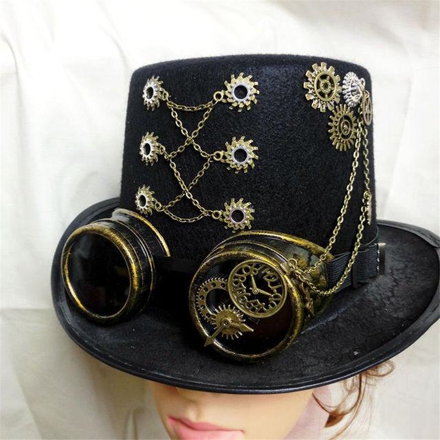 Шляпа в стиле стимпанк с очками и розой 1