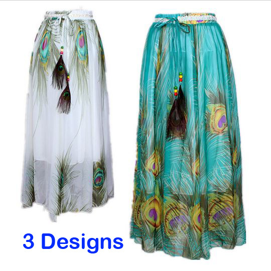 ad7625fe962 Summer Style High Waisted Chiffon Long Skirt Saia Longa for Women Peacock Feather  Print Ankle Length Big Swing Long Beach Skirt-in Skirts from Women s ...