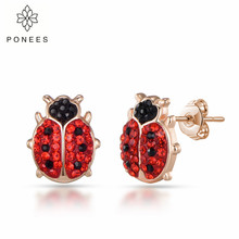 PONEES Cute Rhodium Plating Animal Ladybug Earrings For Women Girl Adorable Insect Ladybird Stud Earrings Fashion Jewelry spe javier gold silver adorable bumble bee insect shaped stud earrings animal jewelry for women girl gift stud earrings