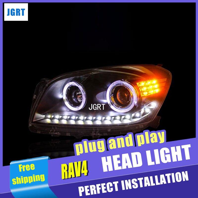 Стайлинг автомобиля для Тойота RAV4 светодиодные фары сборки 2009-2013 РАВ4 объектив водить ДХО двойным Луч H7 с HID комплект 2 шт.