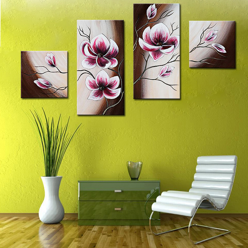 Handmade Painting Wall Picture Pink Flowers Exquisite Wall Art ...