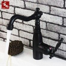 Черный Античный смеситель для кухни Медь кухонный кран холодной и горячей воды вращающийся Мода для ванной 383 К