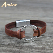 Anslow Brand Trendy Fashion Jewelry Magnetic Mens Bracelets Accessories Genuine Leather Bracelet For Man Charms Gift  LOW0718LB