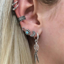 TTLIFE 7Pcs/Set Vintage Bohemian Star Love Heart Dreamcatcher Stud Clip Earrings for Women Silver Color Statement Jewelry Bijoux