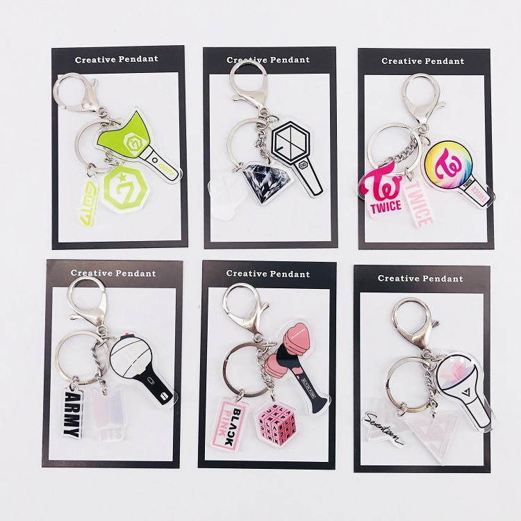 Blackpink Kpop Album EXO GOT7 Twice Keychain Accessories Key Chain Key Ring Cute Pendant Keyring