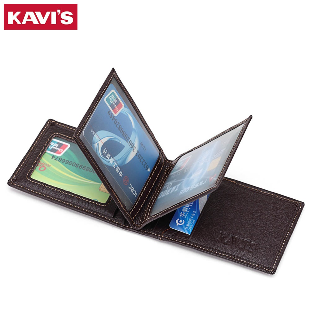KAVIS Brand Cow Genuine Leather Credit Card Holder 14 Card Slots Men Women Business Card Purse ID Wallet Travel For Credit Cards
