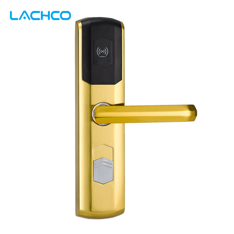 LACHCO  Digital Electronic Lock Card Door Lock for Home Hotel US Mortise Zinc Alloy Satin Gold L16049SG lachco card hotel lock digital smart electronic rfid card for office apartment hotel room home latch with deadbolt l16058bs