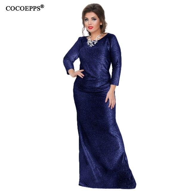 2017 большой Размеры Макси длинное платье осень блестящие Вечеринка Платья для женщин плюс Размеры стильное платье Большие размеры красивые Для женщин Robe Одежда